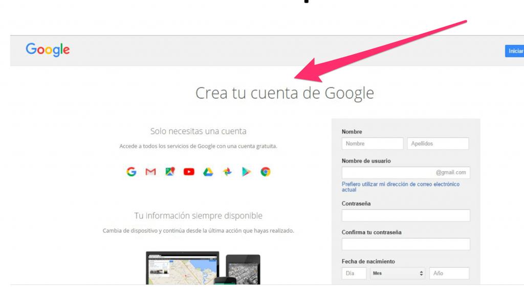 Cómo crear una cuenta en Google analytics