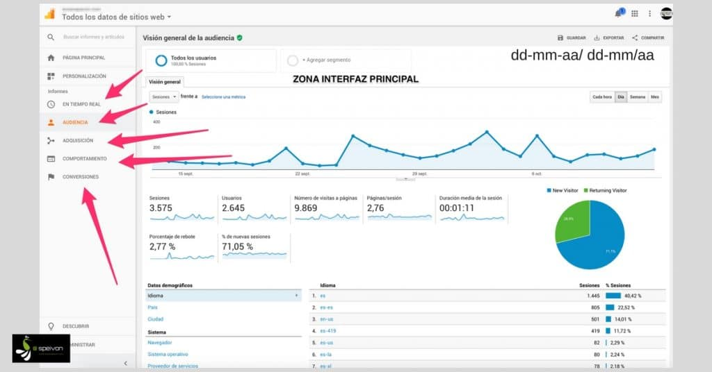Interfaz real Google Analytics