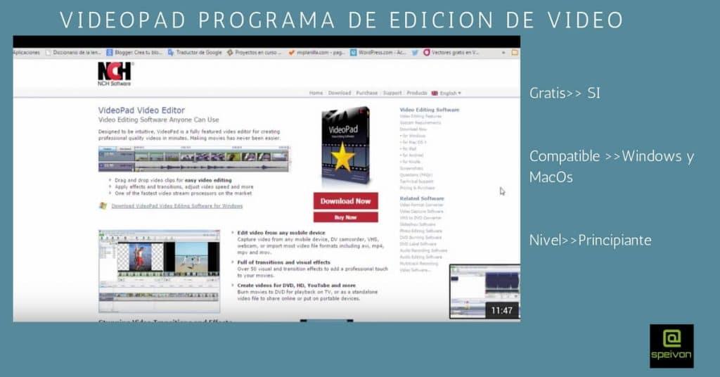 programas de edición de video Videopad