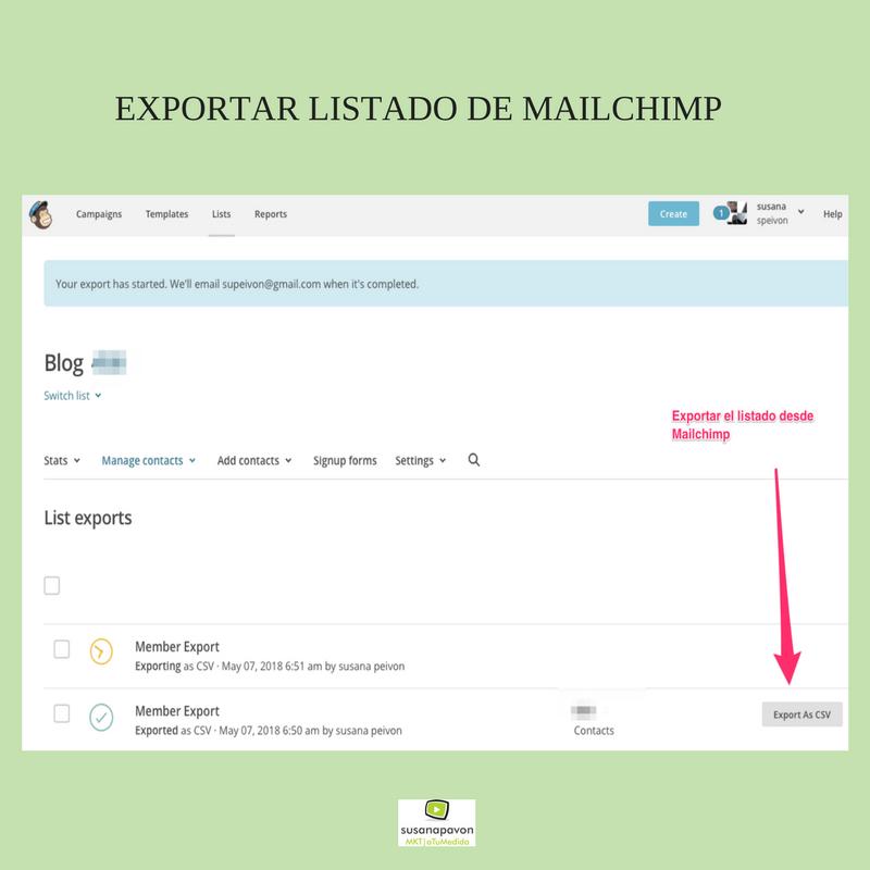 Exportar listado de mailchimp